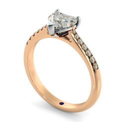 HRHSD878 Heart Shoulder Diamond Ring - rose