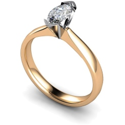 HRM309 Marquise Solitaire Diamond Ring - rose