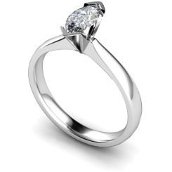 HRM309 Marquise Solitaire Diamond Ring - white