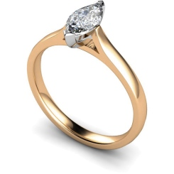 HRM346 Marquise Solitaire Diamond Ring - rose