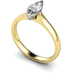 HRM374 Marquise Solitaire Diamond Ring - yellow