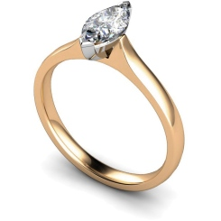 HRM374 Marquise Solitaire Diamond Ring - rose