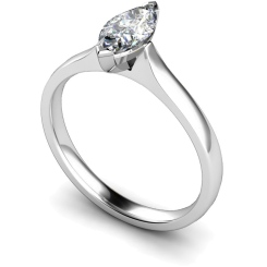 HRM374 Marquise Solitaire Diamond Ring - white