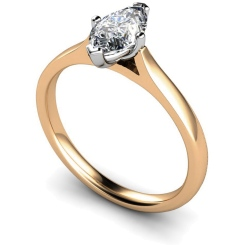 HRM438 Marquise Solitaire Diamond Ring - rose