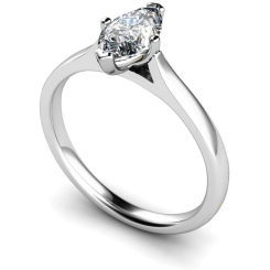 HRM438 Marquise Solitaire Diamond Ring - white