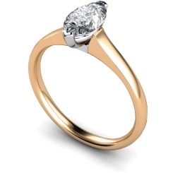 HRM471 Marquise Solitaire Diamond Ring - rose
