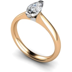 HRM545 Marquise Solitaire Diamond Ring - rose