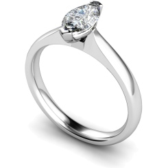 HRM545 Marquise Solitaire Diamond Ring - white