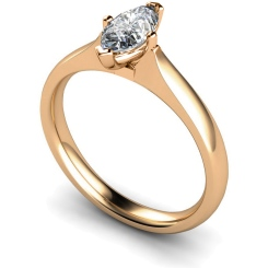 HRM546 Marquise Solitaire Diamond Ring - rose