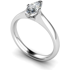 HRM546 Marquise Solitaire Diamond Ring - white