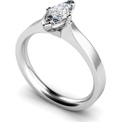 HRM549 Marquise Solitaire Diamond Ring - white