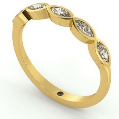 ARA Marquise cut 5 Stone Eternity Diamond Ring - yellow