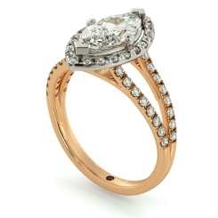 HRMSD686 Marquise cut Y Split Band Halo Diamond Ring - rose