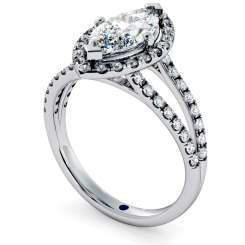 HRMSD686 Marquise cut Y Split Band Halo Diamond Ring - white