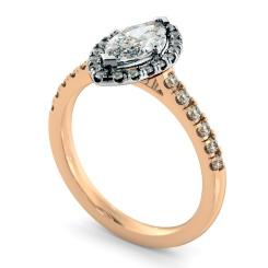 HRMSD814 Marquise Halo Diamond Ring - rose