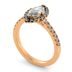 HRMSD814 Marquise Halo Diamond Ring - rose