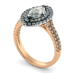 HRMSD815 Marquise Halo Diamond Ring - rose