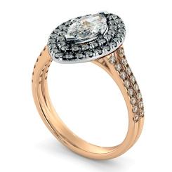 HRMSD815 Marquise Halo Diamond Ring - rose