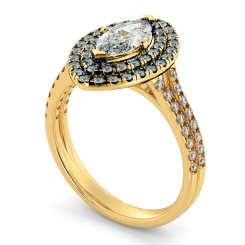 HRMSD815 Marquise Halo Diamond Ring - yellow