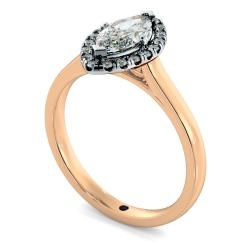 HRMSD842 Marquise Halo Diamond Ring - rose