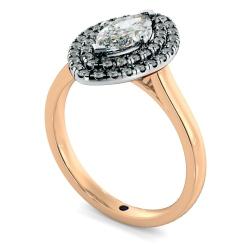 HRMSD843 Marquise Halo Diamond Ring - rose