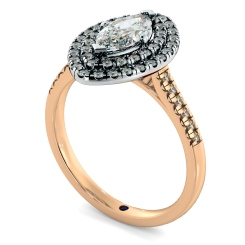 HRMSD844 Marquise Halo Diamond Ring - rose