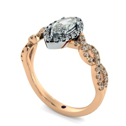 HRMSD845 Marquise Halo Diamond Ring - rose