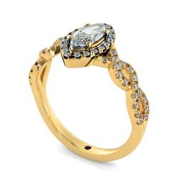 HRMSD845 Marquise Halo Diamond Ring - yellow
