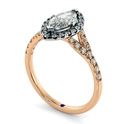 HRMSD846 Marquise Halo Diamond Ring - rose