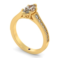 HRMSD873 Marquise Shoulder Diamond Ring - yellow