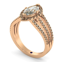 HRMSD874 Marquise Shoulder Diamond Ring - rose