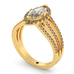 HRMSD874 Marquise Shoulder Diamond Ring - yellow