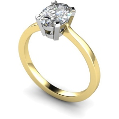 HRO291 Oval Solitaire Diamond Ring - yellow