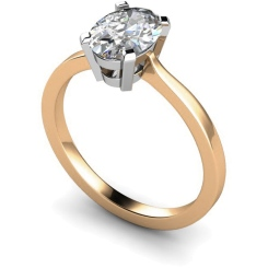 HRO291 Oval Solitaire Diamond Ring - rose