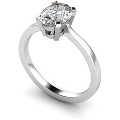 HRO291 Oval Solitaire Diamond Ring - white