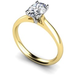 HRO407 Oval Solitaire Diamond Ring - yellow