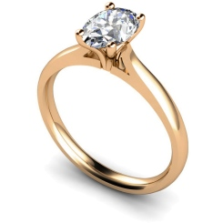 HRO407 Oval Solitaire Diamond Ring - rose
