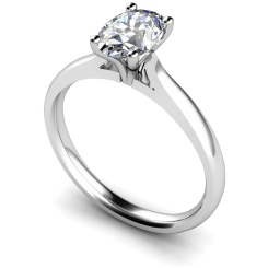 HRO407 Oval Solitaire Diamond Ring - white