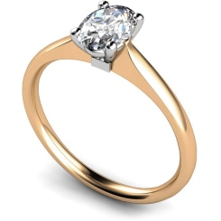 HRO421 Oval Solitaire Diamond Ring - rose