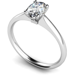 HRO421 Oval Solitaire Diamond Ring - white