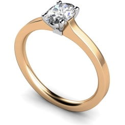 HRO429 Oval Solitaire Diamond Ring - rose