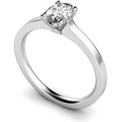 HRO429 Oval Solitaire Diamond Ring - white