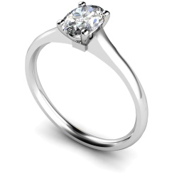 HRO433 Oval Solitaire Diamond Ring - white