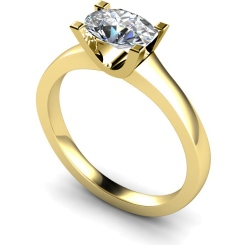 HRO525 Oval Solitaire Diamond Ring - yellow