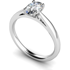 HRO564 Oval Solitaire Diamond Ring - white