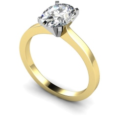 HRO598 Oval Solitaire Diamond Ring - yellow