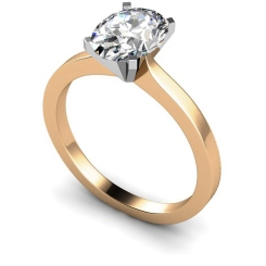HRO598 Oval Solitaire Diamond Ring - rose