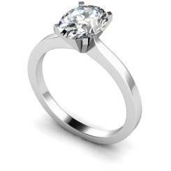 HRO598 Oval Solitaire Diamond Ring - white