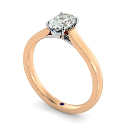 HRO866 Oval Shoulder Diamond Ring - rose