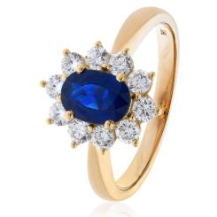 HROGBS1023 Blue Sapphire & Diamond Halo Ring - rose